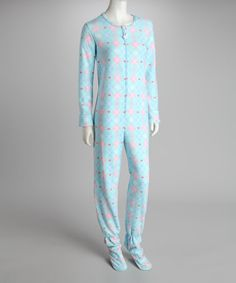up to 3x Take a look at this Soft Wear San Francisco Aqua Argyle Footie Pajamas - Women by Bedtime: Kids' & Women's Pajamas on #zulily today!