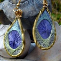 STRING ART EARRINGS IN BRASS: There are dozens of tutorials for these on the internet and even a couple on YouTube.com.  The only problem was finding a tidy way to secure the top.