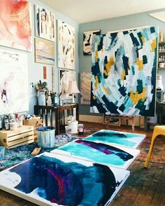 The scent of paint brilliant colours drying on paint brushes canvasses stacked up against the wall floor and everywhere This bohemian studio setup is a riot of colour. of @mossandblue . . .  #bohemian #paint #art #canvas