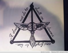 Literally the coolest Harry Potter tattoo ever. Deathly Hallows. Quidditch. Broom. Snitch. Albus Dumbledore.