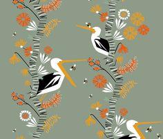The beaks, the birch the bees fabric by mirjamauno on Spoonflower - custom fabric
