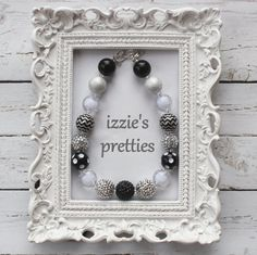 Silver Black White Sparkly Necklace, Chunky Bead Necklace, Photo Prop, Black and White Jewelry, Izzies Pretties
