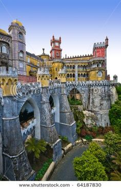 Pena Castle in Sintra, Portugal...  This is actually Pena National Palace in Sintra that served as a summer retreat for Portegese monarchs in 18th and 19th century.  In 1995 the palace became a World Heritage site.