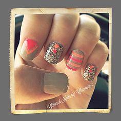 Nude summer nails #gel #neon #glitterednailsbycheyenne
