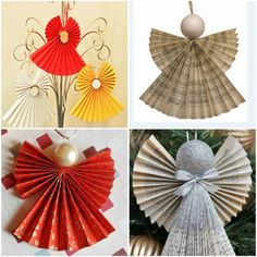Folding Paper Angels for Decoration - 10 Beautiful Ideas Wood Christmas Tree, Christmas Crafts For Kids, Christmas Angels, Kids Christmas, Xmas, Snowman Decorations, Christmas Decorations, Christmas Ornaments, Holiday Decor