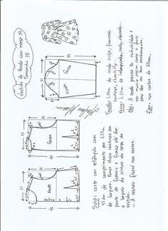 Esquema de modelagem de vestido meia estação de renda e manga 3/4 tamanho 38.
