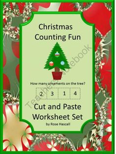 Christmas Counting Fun Cut and Paste P-K,K, Special Education, Autism from smalltowngiggles on TeachersNotebook.com (20 pages)