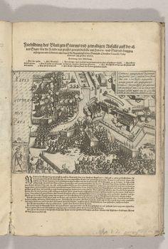 Anonymous | Beleg van Oostende: bestorming van de vesting op 7 januari 1602, Anonymous, 1602 - 1604 | Zware bestorming van de verdedigingswerken van Oostende door de Spaanse troepen onder Albrecht, 7 januari 1602. Linksonder een inzet met een een plaatje van een vrouwelijke Spaanse soldaat die bij de gevechten betrokken was, rechtsboven een cartouche met opschrift in het Latijn. Boven de prent de titel met verklaring van de cijfers, onderaan een beschrijving van de gebeurtenissen, in het…