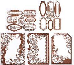 8 Chocolate Card Toppers (3 designs2-Ea & 2 Sheets of greetings frames). Choclate raised imagesresist color Paper absorbs paper. Use as a card front, window card or shaped card. Usewith ink pads, chalks, mists, spritz, Walnut inks, Brush pens, Smooch, Gelatos, more!. Create your own colors!.