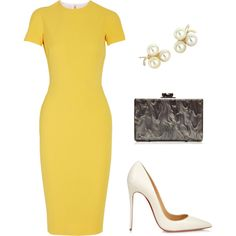 A fashion look from August 2015 featuring Victoria Beckham dresses, Christian Louboutin pumps and Edie Parker clutches. Browse and shop related looks.