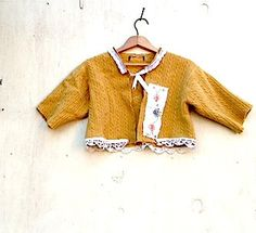Winter citrine honey  Vintage russet caramel  lace Felted wool anthropologie Style cardigan shrug rustic sweater. $59.00, via Etsy.