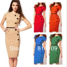 9b17c03938e0 Hot 2014 new summer Dresses SMLXLXXL fashion slim Vestidos Office Lady  Formal button Fitted Bodycon Party