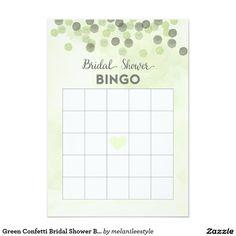 Green Confetti Bridal Shower Bingo Card