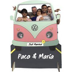 Photocall furgoneta un clásico y divertido photocall en cartón, el photocall para bodas y eventos con el que inmortalizar sus recuerdos junto a sus invitados.