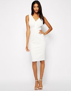 Enlarge ASOS Pencil Dress with V Neck in Texture