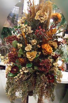 Brown, Sage and Burgundy Silk Flowers Arrangements