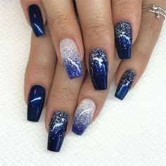 25 Long Blue Coffin Nail Designs You Will Want to Try - Long Blue Coffin Nail Designs You Will Want to Try,blue coffin nails with glitter,blue coffin nails - Blue And Silver Nails, Navy Blue Nails, Blue Coffin Nails, Blue Glitter Nails, Blue Gel Nails, Glitter Dust, Silver Glitter, Nail Art Blue, Royal Blue Nails