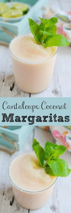 Cantaloupe Coconut Margarita -  your new favorite frozen summer cocktail! Fresh cantaloupe, coconut milk, lime juice, and tequila!