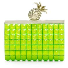 Kate Spade neon green clutch with pineapple clasp