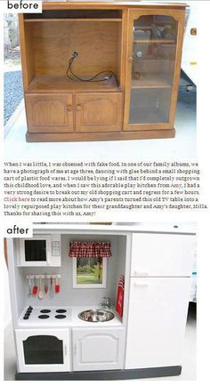 play kitchen plans from an entertainment center | Turn Your Old Entertainment Center Into a (Play) Kitchen | A Little ...