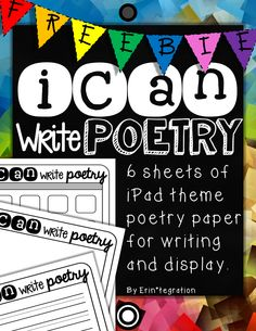 Use this paper for students to publish any poems written during your poetry unit. Makes a great bulletin board or hallway display for National Poetry Month. 6 versions of iCan Write Poetry paper - primary lines, medium rule, and blank with an withou Second Grade Writing, 4th Grade Reading, Third Grade, Teaching Poetry, Teaching Writing, Elementary Teaching, Poetry Unit, Writing Poetry, Digital Poetry