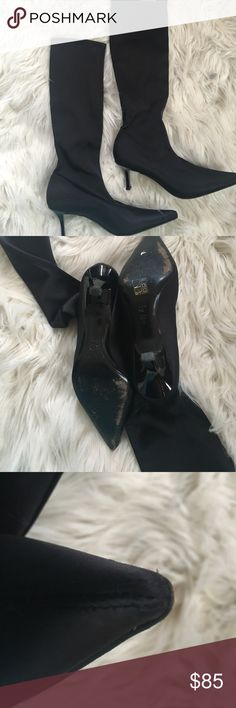 Casadei silk/satiny stretch boots, made in Italy Black stretch silk/satin pointed toe 2 1/2 inch heels. Worn once, excellent condition! Casadei Shoes Heeled Boots