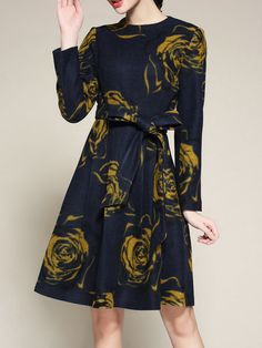 Shop Midi Dresses - Navy Blue Long Sleeve Crew Neck Midi Dress online. Discover unique designers fashion at StyleWe.com.