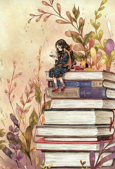 Illustration über Bücher
