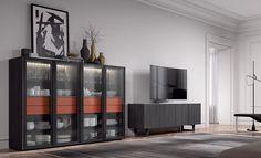 Mueble de salón moderno , en las nuevas lineas presentadas en Milan. Descubre tu composición perfecta para tu salón en nuestra tienda de Madrid #salón #salónmoderna