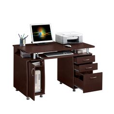 The Modern Designs multifunctional desk will add instant appeal to your home office space. Constructed of MDF in a brown finish, this elegant desk with three drawers and accessory storage cabinet is ideal to store and organize all your office needs.