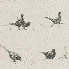 Pheasant Fun pattern printed on lovely English linen.