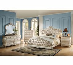 Chantelle Bedroom Set In Pearl White By Acme Furniture