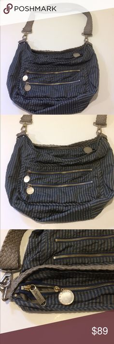 Stella McCartney LeSportsac Collab Crossbody Blue Stella McCartney with LeSportsac Collab! Cool slate blue and gray stripe cross body with woven strap. Light wear but in good condition with clean interior and exterior. Awesome price for this sold out collection. Offers always warmly received. Stella McCartney Bags Crossbody Bags