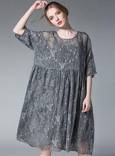 Vintage Embroidery Big Hem Shift Dress With Underskirt