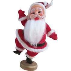 I love these flocked santa decorations, made in Japan in the 1960's!  Christmas Santa Decoration Vintage 1950's Flocked Jolly Holiday