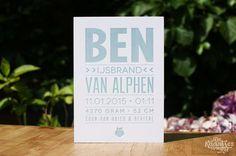 Letterpress geboortekaartje – Ben
