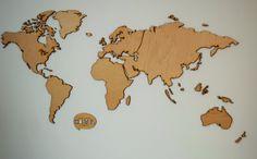 Lasercuttet verdenskort
