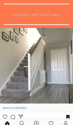 Hallway Renovation in a Art Deco House Grey Stair Carpet, Grey Carpet Hallway, Grey Carpet Living Room, Carpet Diy, Grey Carpet Bedroom, White Carpet, Carpet Stairs, Dark Grey Carpet, House Stairs