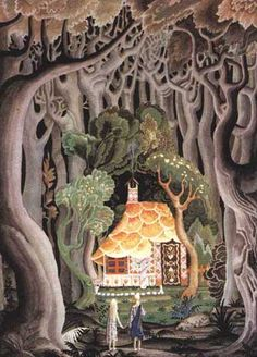 """Illustration for """"Hansel and Gretel"""", by the amazing Kay Nielsen, 1925. So much incredible light in this version of the classic moment when the lost children find the house in the midnight woods."""