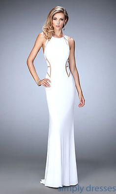 Shop racer-back formal dresses and pageant dresses at Simply Dresses. Gala ball gowns with mermaid skirts and long formal wedding-guest dresses.