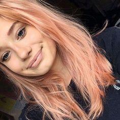 Blorange Hair, Wavy Hair, Dyed Hair, Peachy Hair Color, Pastel Orange Hair, Peach Hair, Strawberry Blonde Hair, Brown Blonde Hair, Super Hair