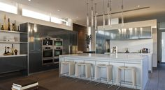 The kitchen is designed to accommodate a large party.  (McClean Design)