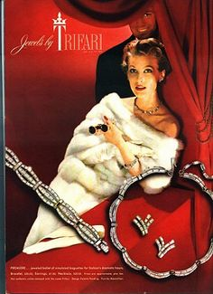 Ah, vintage jewelry - either in an ad or in my collection, makes me smile! This one is for Trifari from 1958.