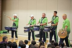 seattle blue thunder drumline pictures | visit from members of the seahawks blue thunder drum line
