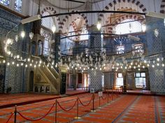 The Rustem Pasha Mosque with its famous blue Iznik tiles in Istanbul.