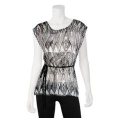IZ Byer California Graphic Print Sleeveless Top - Juniors    Very slimming and sharp shirt!