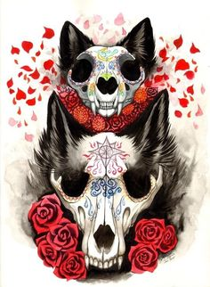 Cat & Wolf by Jessica Pryor is part of Cat Global Selector Caterpillar - This is a galleryquality giclée art print on cotton rag archival paper, printed with archival inks Art Sketches, Art Drawings, Wolf Skull, Wolf Illustration, Dark Creatures, Drawn Art, Anime Wolf, Creepy Art, Dark Fantasy Art