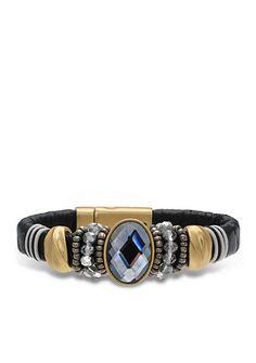 Jules B Gold-Tone Haute Hippie Chic Black Diamond Crystal Leather Bracelet