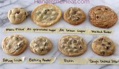Different versions of chocolate chip cookies depending on ingredients. Chilling the dough for 24hrs looks like a delicious outcome!