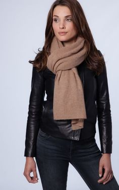 Oversized camel cashmere scarf by REPEAT